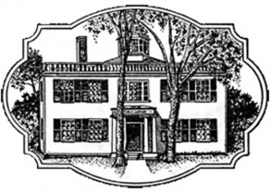 Woodcut image of library building